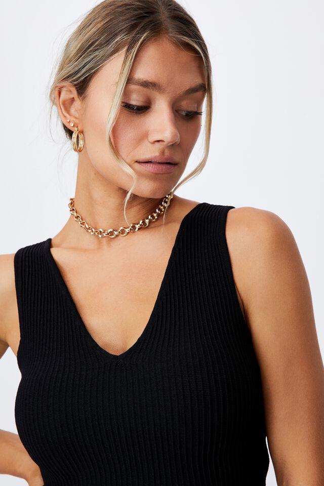 Danica V Neck Knit Top, BLACK