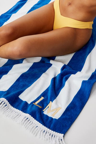 Customised Beach Towels, BLUE-WHITE STRIPE