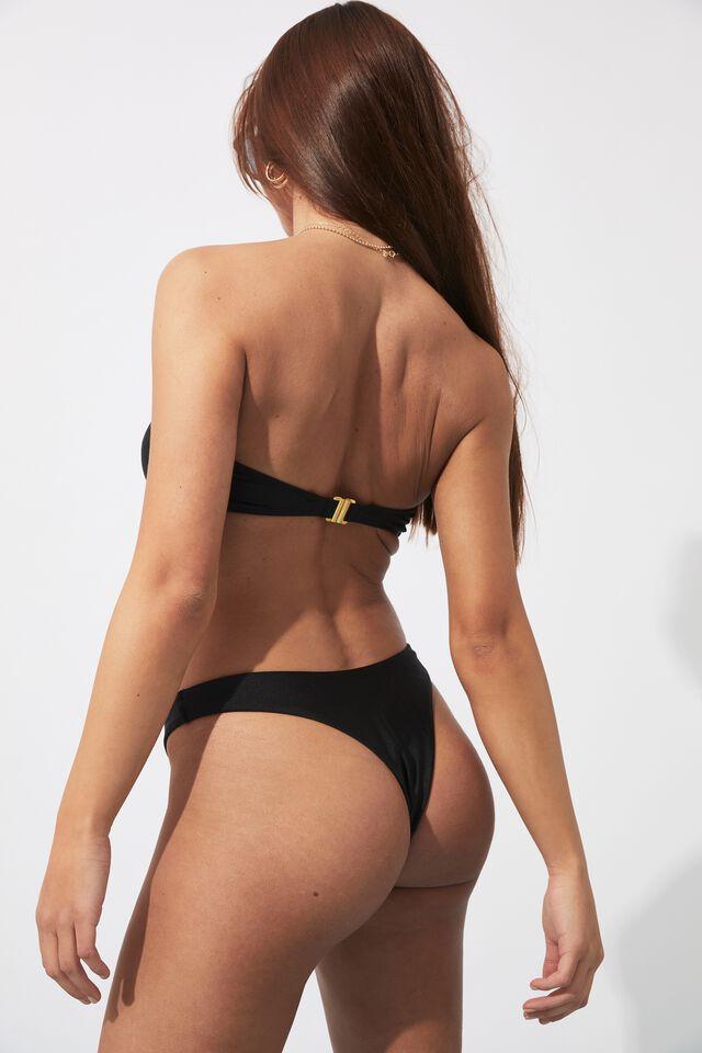 Ashleigh Ring Bikini Top, BLACK