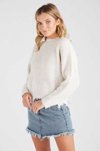 Riley Distressed Knit Top, ALMOND