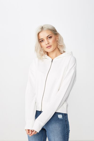 Sammy Hoodie Zip Sweat, WINTER WHITE