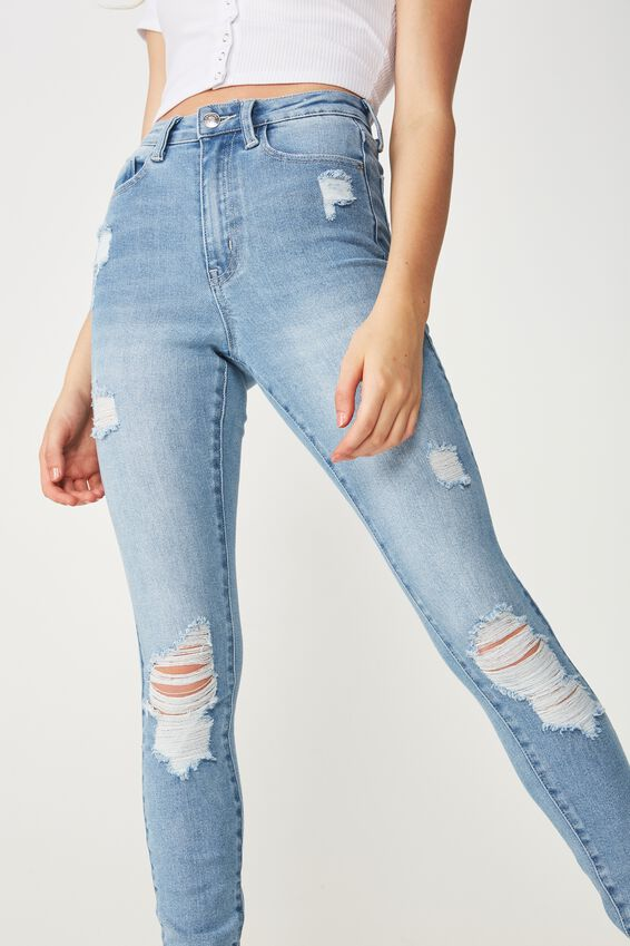 Long Skinny Premium Ankle Grazer Jean, LIGHT VINTAGE BLUE