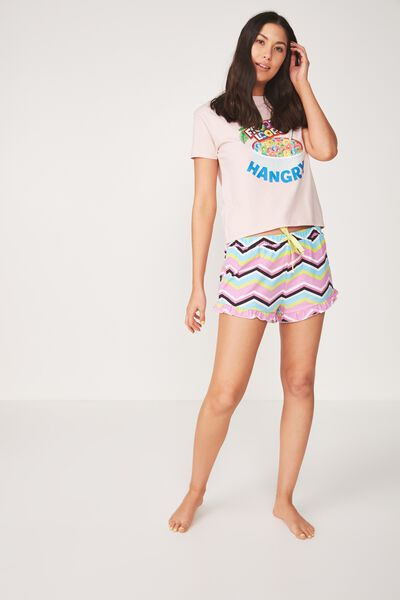 Frill Hem Sleep Short, CHEVRON STRIPE