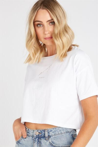 Printed Loose Crop Tee, WHITE/PISCES