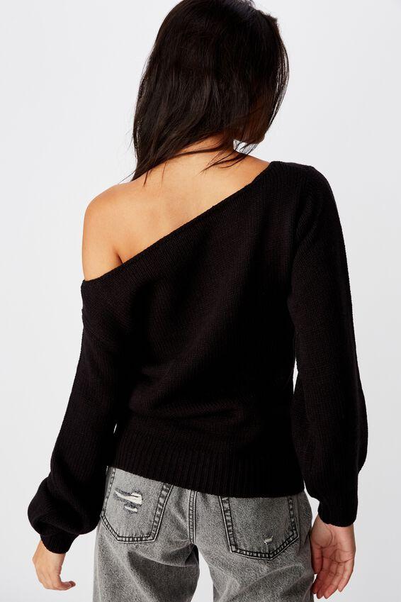 Texas Off Shoulder Knit, BLACK