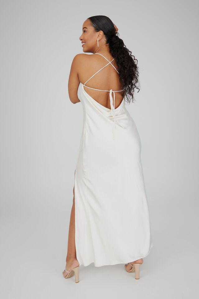 Caitlyn Cowl Neck Formal Dress, WARM WHITE
