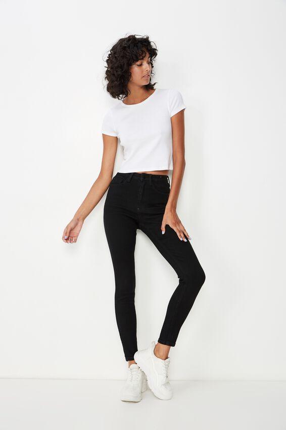 Long Skinny Premium Ankle Grazer Jean, BLACK