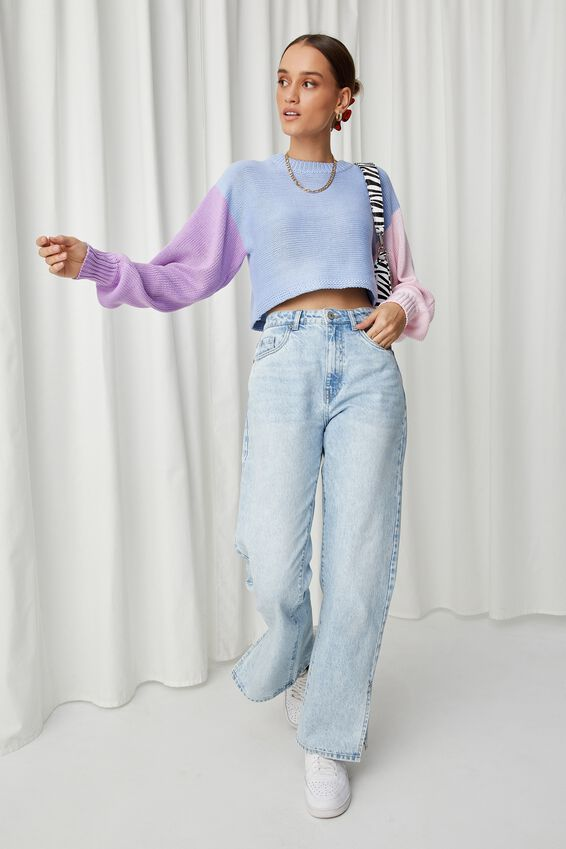 Sophia Crew Neck Knit, PINK FROSTING/BLUE PETAL/AMYTHYST
