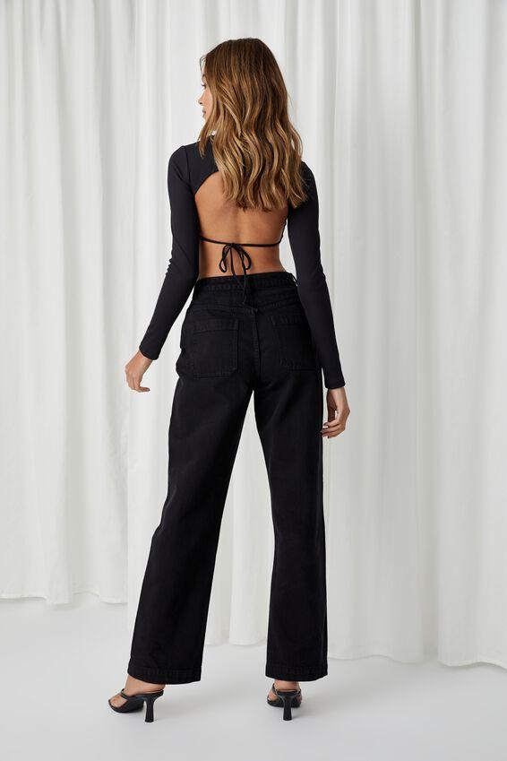 Full Length Wide Leg Jean, WASHED BLACK