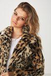Aria Faux Fur Coat, OCELOT LEOPARD