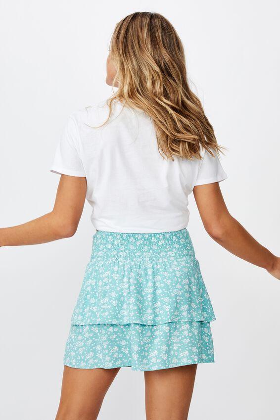 Poppy Shirred Waist Tiered Skirt, MONO WALLPAPER SAGE