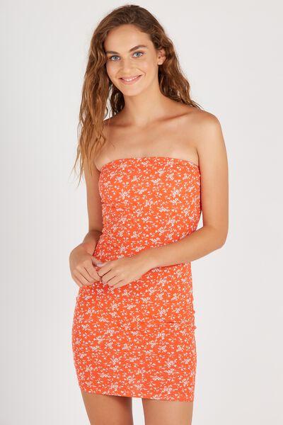 Print Boobtube Dress, RED FLORAL