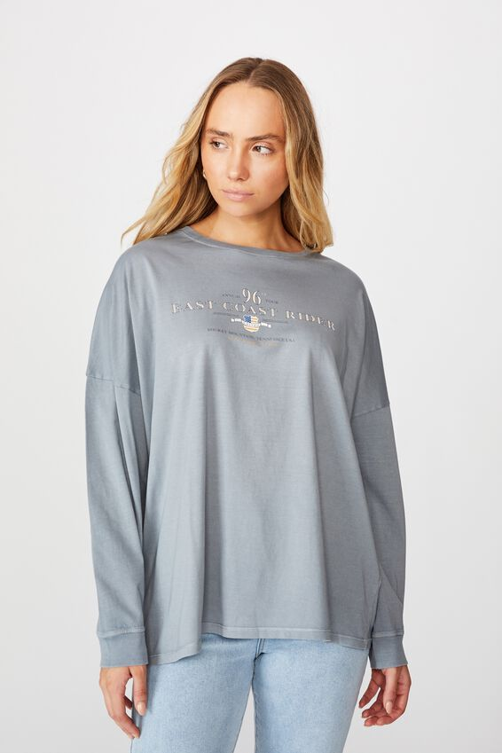Barbados Long Sleeve Tee, WASHED BLUE/SMOKEY MOUNTAIN