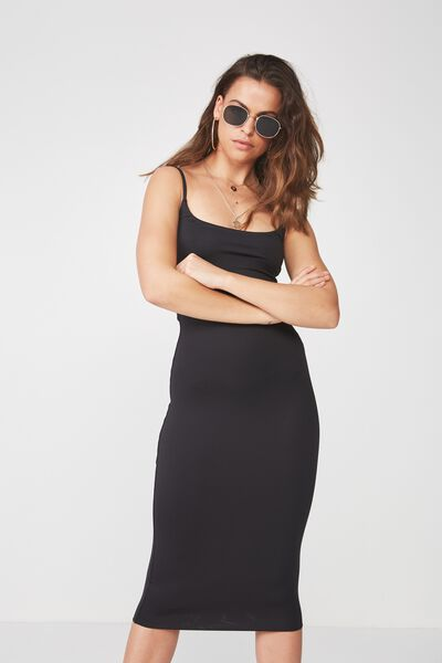 Party Thin Strap Midi Dress, BLACK
