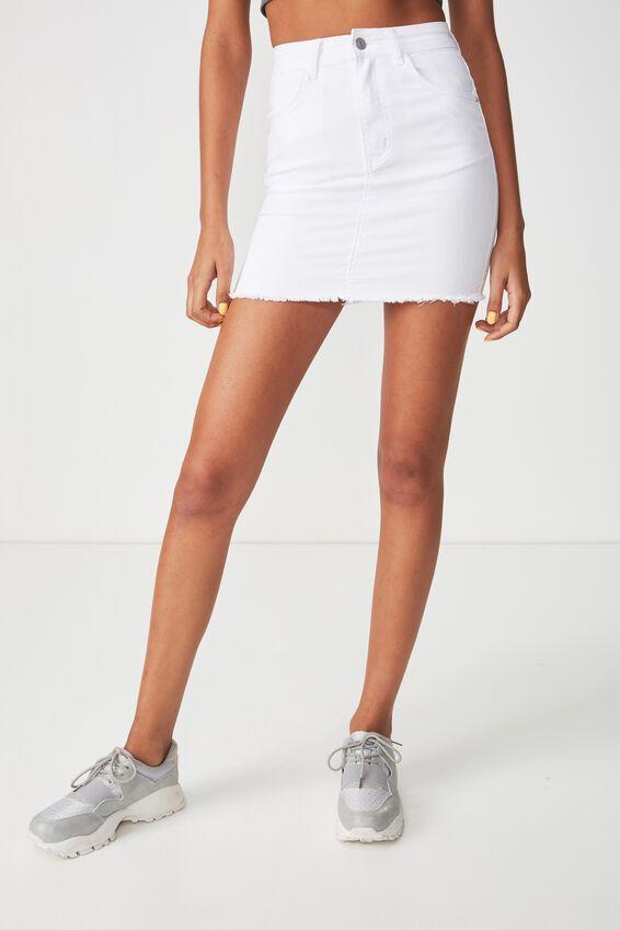 The Charmed Mini Denim Skirt, CLEAN WHITE
