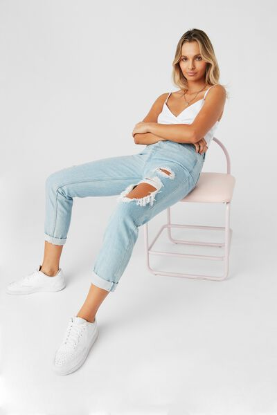 The Mom Ripped Denim Jean, FRESH BLUE RIPPED