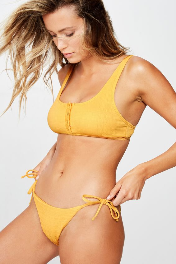 Bells Tie Side Bikini Bottom, POPPY YELLOW CRINKLE