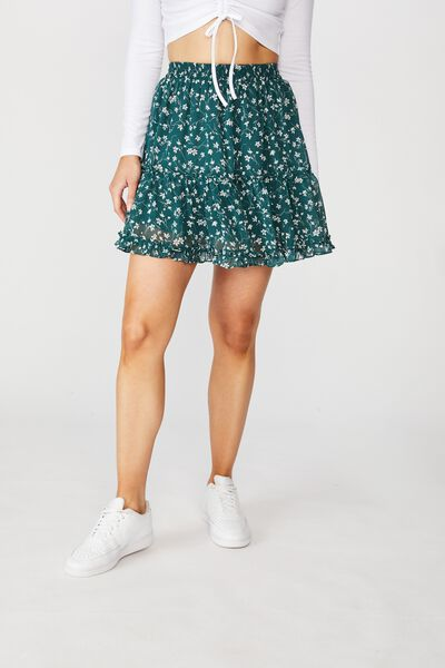 Delilah Tiered Mini Skirt, PATRICIA FLORAL GREEN