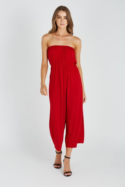 Strapless Jumpsuit, RED