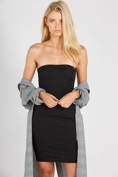 Party Strapless Ribbed Dress, BLACK