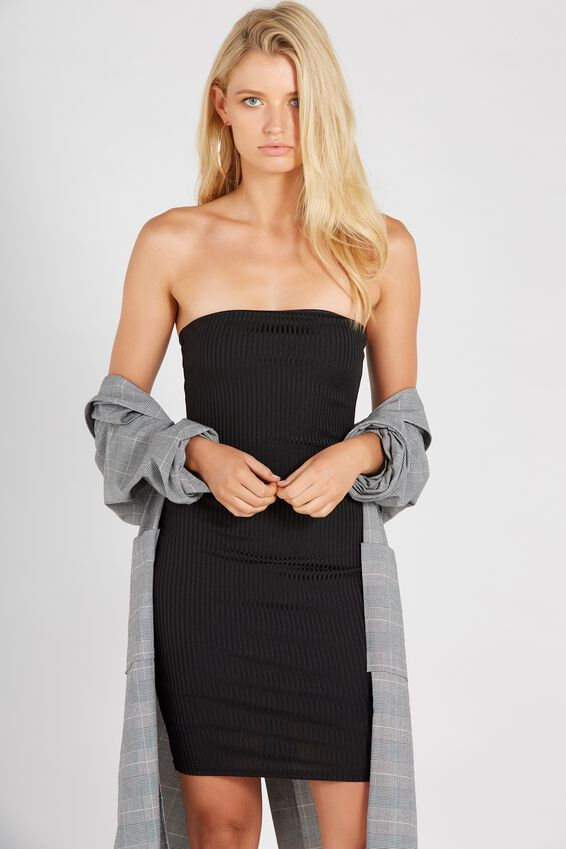 Party Strapless Ribbed Dress | Tuggl