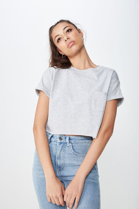 Ciara Crop Tee, GREY MARLE