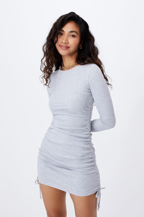 Frida Long Sleeve Mini Dress, GREY MARLE