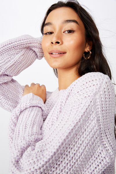 Lennon Crew Knit Sweater, FAIRY LILAC/WHITE TWIST