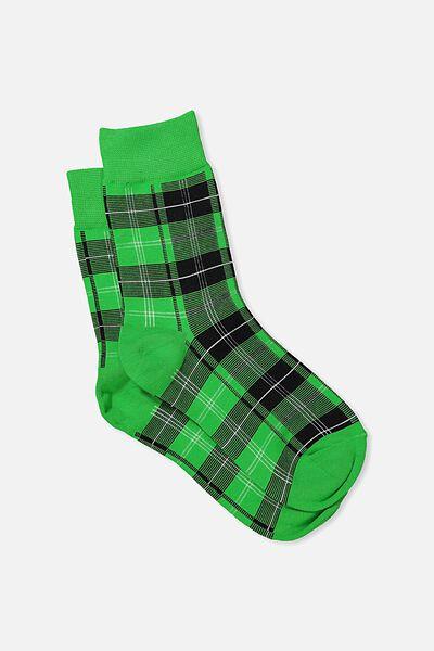 90S Check Socks, GREEN HERITAGE