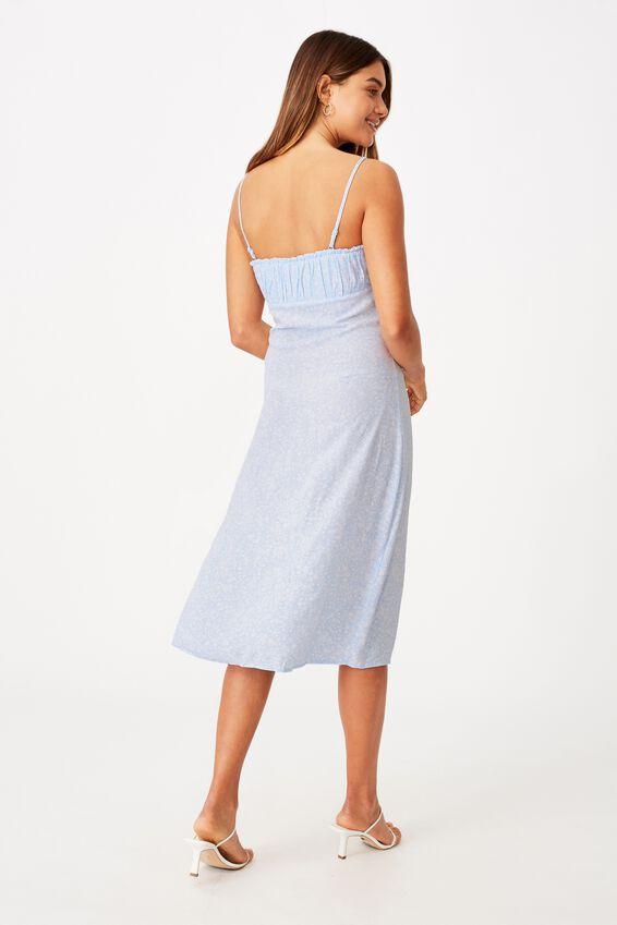 Juliet Split Front Midi Dress, STELLA FLORAL SOFT BLUE