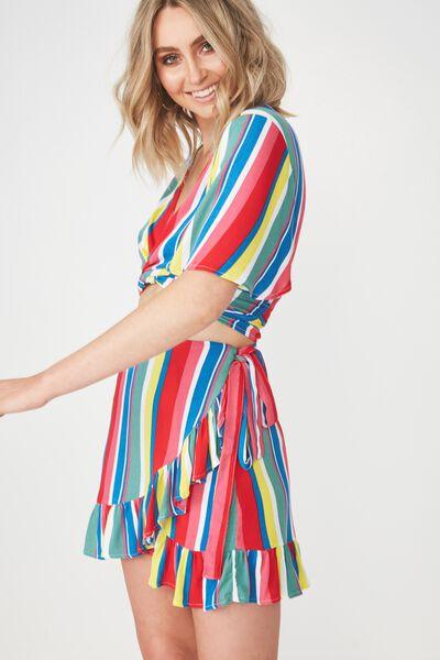 Frill Wrap Mini Skirt, BOLD RAINBOW