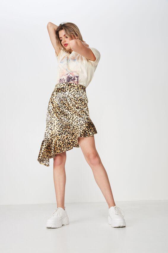 Ruffle Hem Midi Satin Skirt, OCELOT LEOPARD