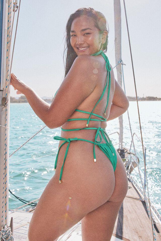 Addison Gathered Bikini Bottom, EMERALD