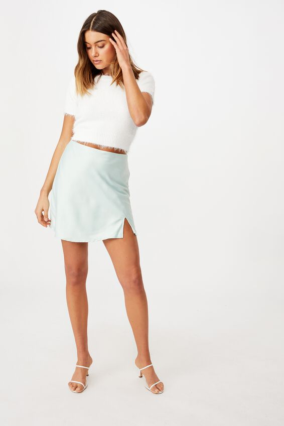 Adriana Fluffy Crew Knit, WHITE