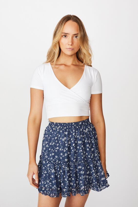 Delilah Tiered Mini Skirt, PATRICIA FLORAL BLUE