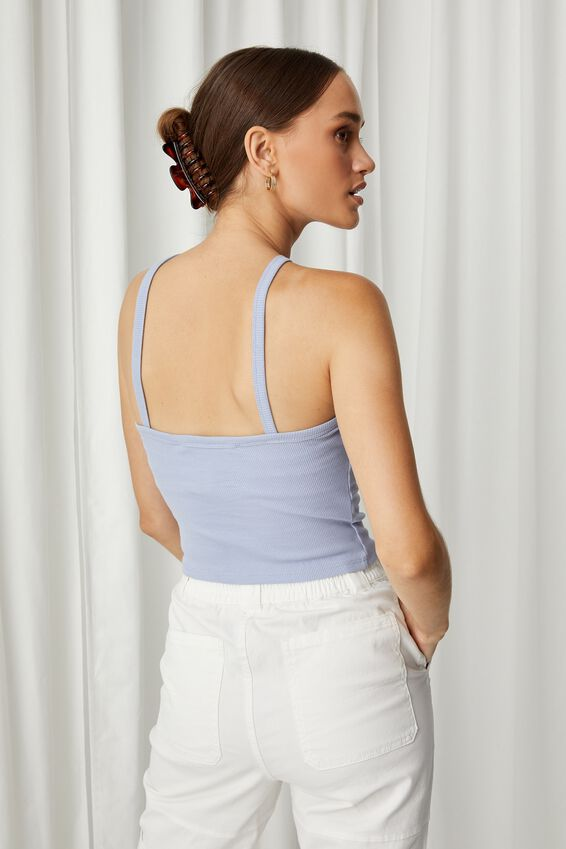 Daisy High Neck Top, AURA BLUE