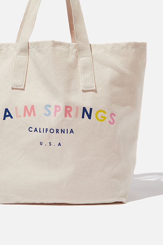 Canvas Tote Bag, RAINBOW PALM SPRINGS