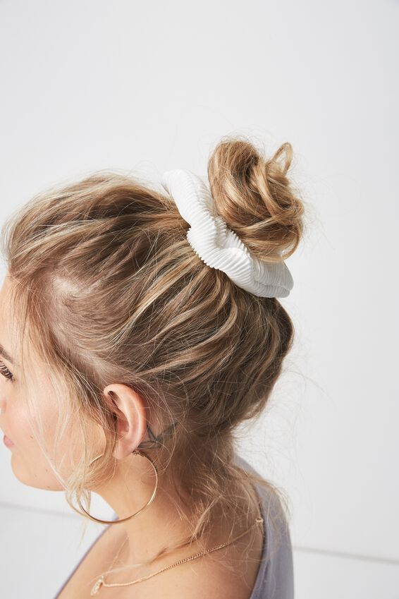 Pleated Scrunchie, PLEATED WHITE