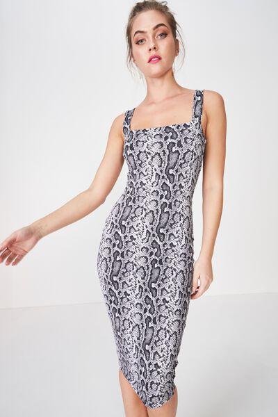 Luxe Thick Strap Midi Dress, PRINCESS PYTHON