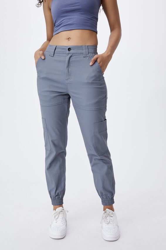 Kiki High Rise Cargo Pant, BLUE GREY