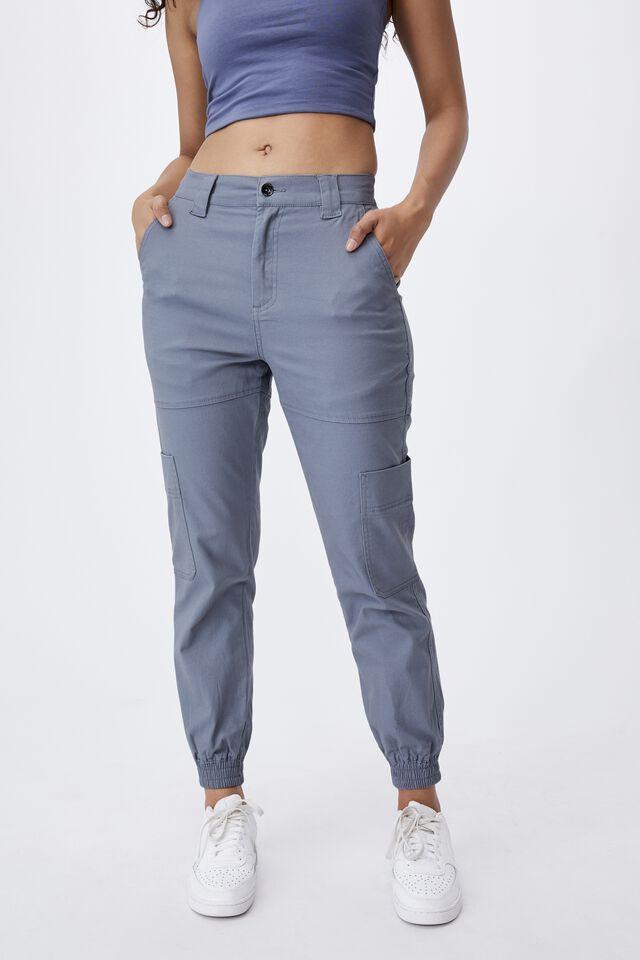 Kiki High Rise Cargo Pant, BLUE GREY