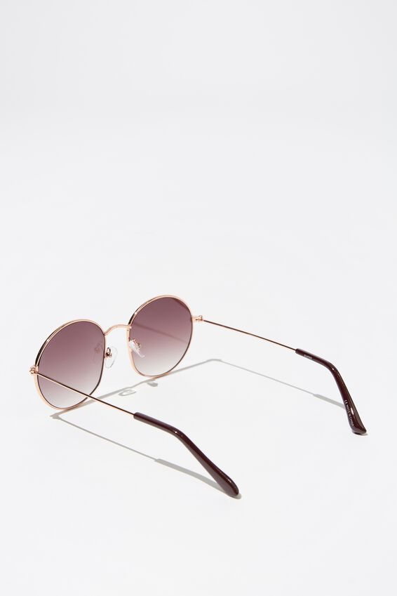 Paloma Round Sunglasses, ROSE GOLD/SMK