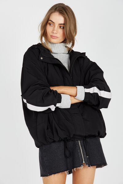 Oversized Sport Jacket, BLACK
