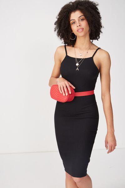 Square Neck Rib Midi Dress, BLACK