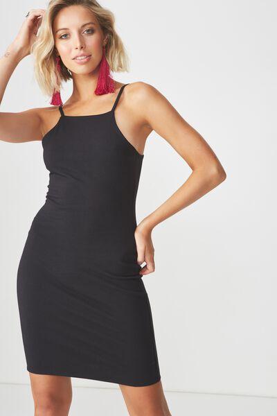 High Neck Strappy Mini Dress, BLACK