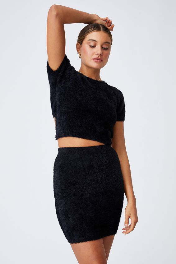 Fluffy Backless Co-ord Top, BLACK