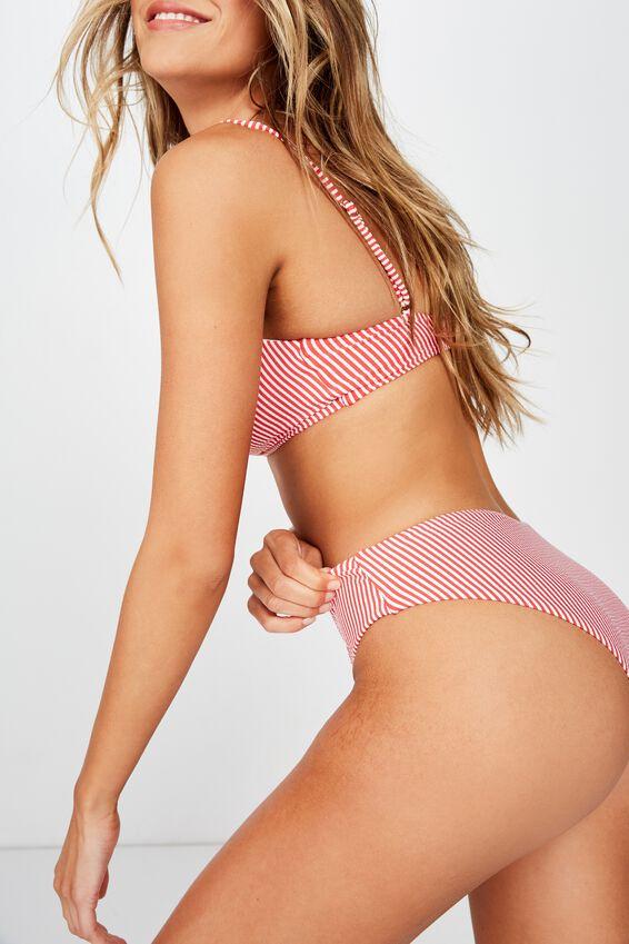 Noosa Seamless Bikini  Bottom, COLLEGIATE STRIPE RED SEERSUCKER