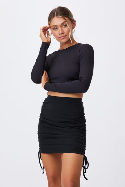 Paola Ruched Drawcord Skirt, Black