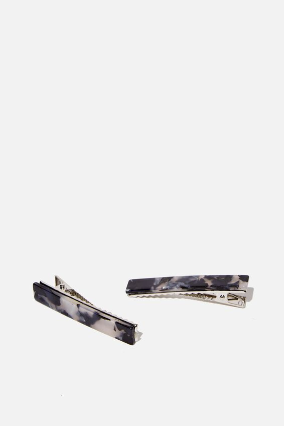 Hair Clips 2 X Pack, BLACK/WHITE MARBLE