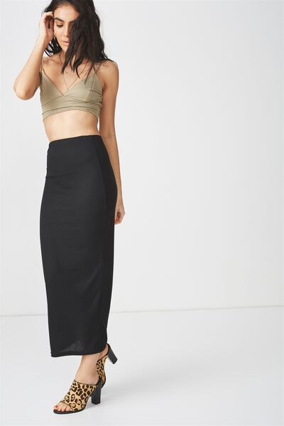 Rib Maxi Skirt, BLACK